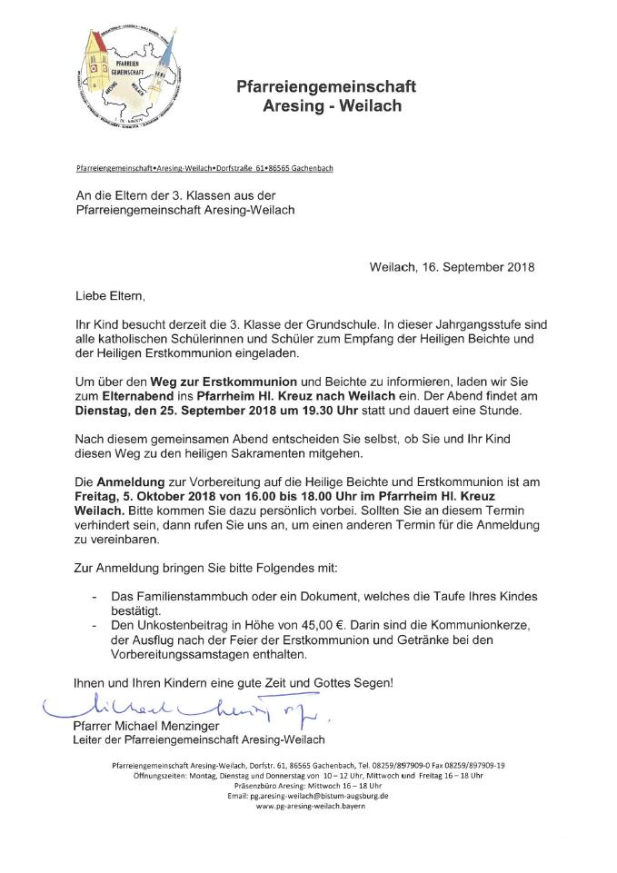 Infos Zur Erstkommunion 2019